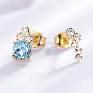 Sky Blue Topaz Stud Earrings For Women Yellow Gold